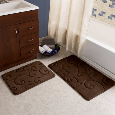 2 Piece Coral Fleece Embossed Bath Rug Set Color: Chocolate