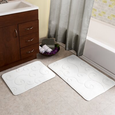 2 Piece Coral Fleece Embossed Bath Rug Set Color: White