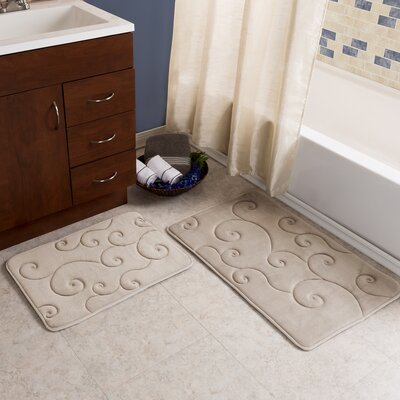2 Piece Coral Fleece Embossed Bath Rug Set Color: Taupe