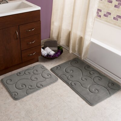 Andromeda 2 Piece Embossed Memory Foam Bath Rug Set Color: Platinum
