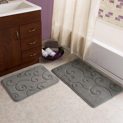 Taraval 2 Piece Embossed Memory Foam Bath Rug Set Color: Platinum
