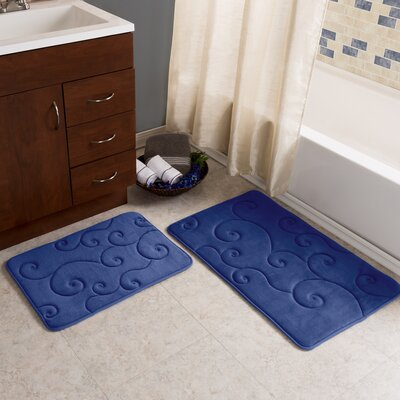 2 Piece Coral Fleece Embossed Bath Rug Set Color: Navy