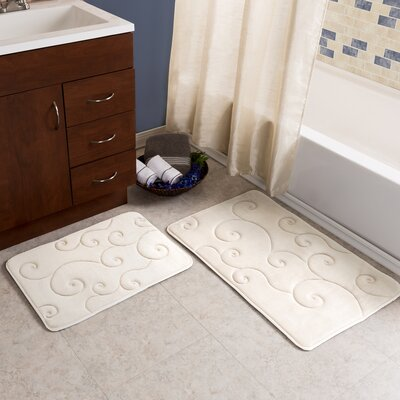 2 Piece Coral Fleece Embossed Bath Rug Set Color: Ivory