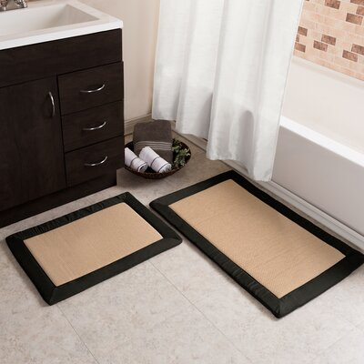 Emmaleigh 2 Piece Fleece Memory Foam Bath Rug Set Color: Black