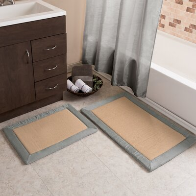 2 Piece Faux Linen Fleece Bath Rug Set Color: Platinum