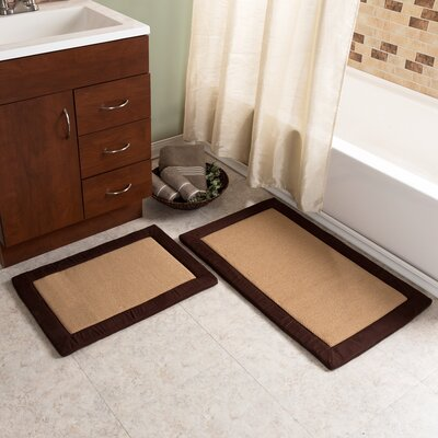 2 Piece Faux Linen Fleece Bath Rug Set Color: Chocolate
