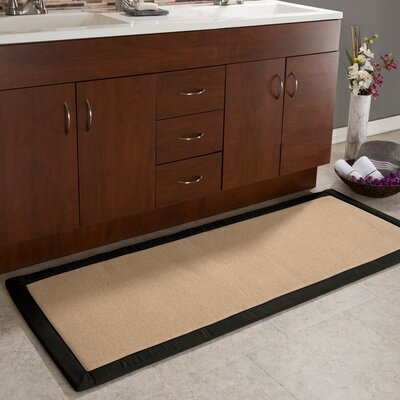 Faux Linen Fleece Long Bath Rug Color: Black