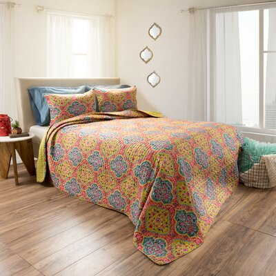 Quenby Embossed 3 Piece Reversible Quilt Set Size: Twin