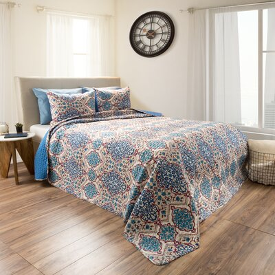Riva Embossed 3 Piece Reversible Quilt Set Size: King