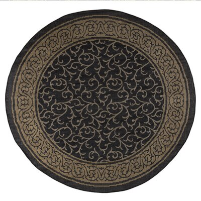 Vine Black/Beige Indoor/Outdoor Area Rug Rug Size: 8 Round