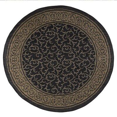 Vine Black/Beige Indoor/Outdoor Area Rug Rug Size: 8 Round