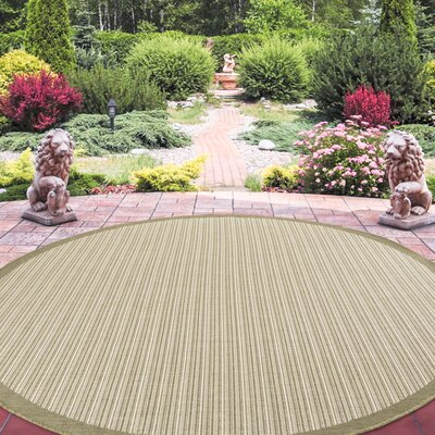 Baylis Casual Stripe Beige Indoor/Outdoor Area Rug Rug Size: Round 8