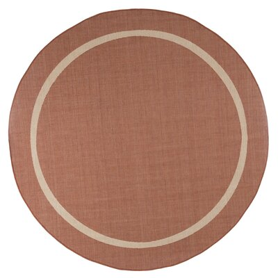 Border Orange Indoor/Outdoor Area Rug Rug Size: Round 8