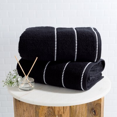 2 Piece Bath Sheet Set Color: Black