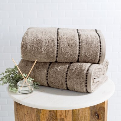 2 Piece Bath Sheet Set Color: Taupe