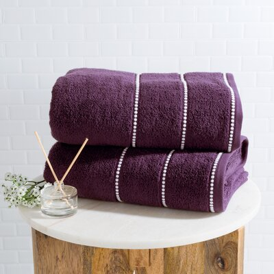 2 Piece Bath Sheet Set Color: Eggplant