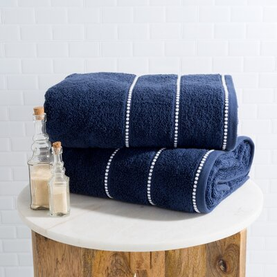 2 Piece Bath Sheet Set Color: Navy