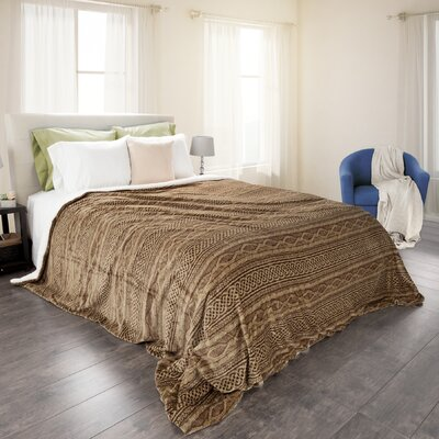 Cremorne Flannel/Sherpa Blanket Size: Full/Queen, Color: Chocolate/Taupe