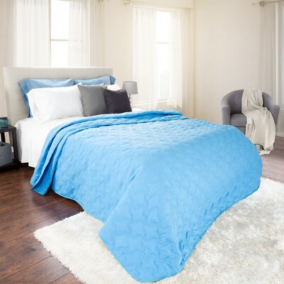 Mytsyk Solid Quilt Color: Blue, Size: King