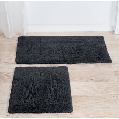Marylee 2 Piece Reversible Bath Rug Set Color: Black
