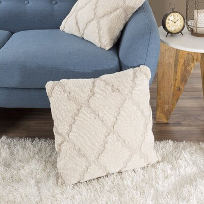 Fritzi Textured Trellis Throw Pillow Color: Beige