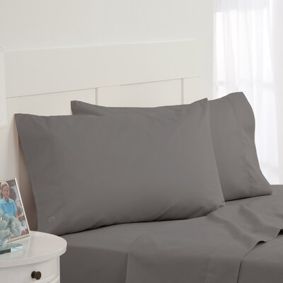 Skipjack Tonal Embroidered Twill Pillowcase Pair Color: Grey, Size: Standard