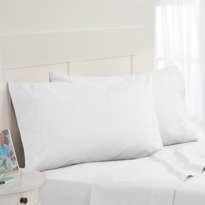 Skipjack Tonal Embroidered Twill Pillowcase Pair Color: White, Size: Standard