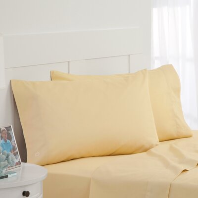 Skipjack Tonal Embroidered Twill Pillowcase Pair Color: Yellow, Size: Standard