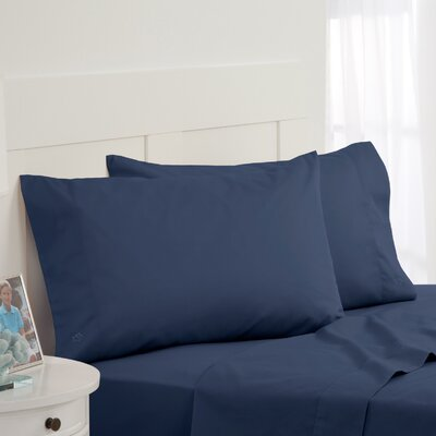 Skipjack Tonal Embroidered Twill Pillowcase Pair Color: Blue, Size: King