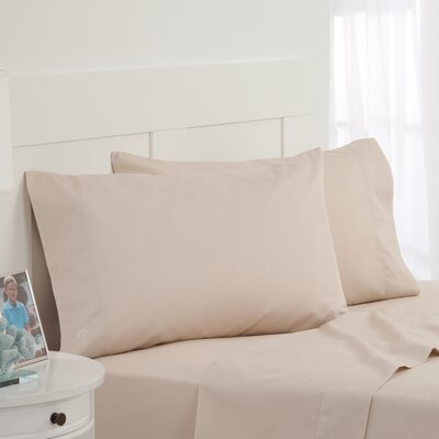 Skipjack Tonal Embroidered Twill Pillowcase Pair Color: Sand, Size: Standard