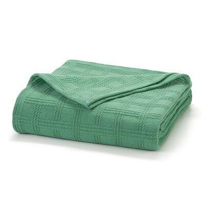 Classic Cotton Loom Woven Blanket Color: Green Grass, Size: Full/Queen