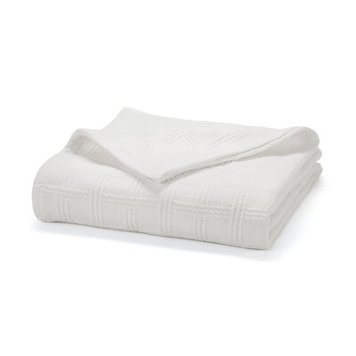 Classic Cotton Loom Woven Blanket Color: White, Size: Full/Queen
