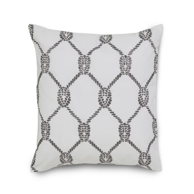 Breakwater Embroidered Rope Cotton Throw Pillow Color: Grey