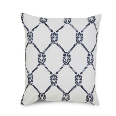 Breakwater Embroidered Rope Cotton Throw Pillow Color: Blue