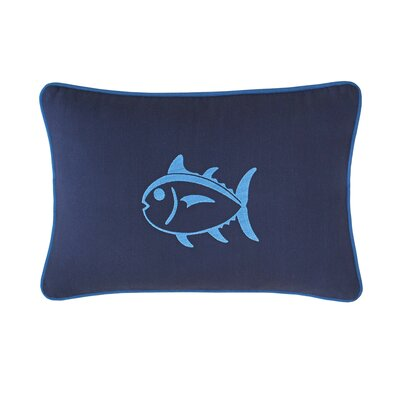 Dock Street Embroidered Skipjack Cotton Lumbar Pillow