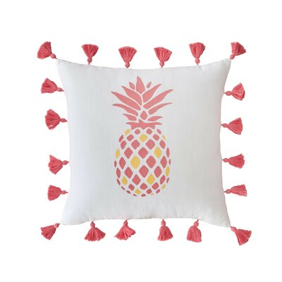 Coastal Embroidered Pineapple Cotton Throw Pillow
