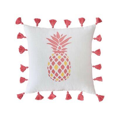 Coastal Embroidered Pineapple Cotton Throw Pillow