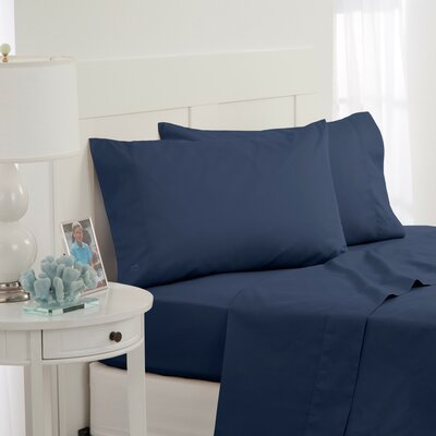 Skipjack 300 Thread Count 100% Cotton Sheet Set Color: Blue, Size: Full