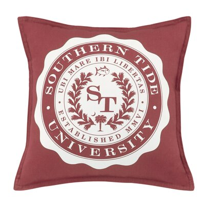 Skipjack Chino University 100% Cotton Throw Pillow Color: Charleston Red
