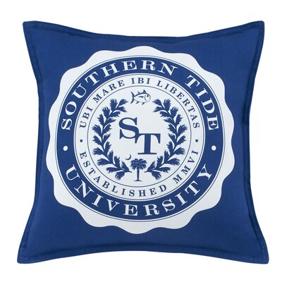 Skipjack Chino University 100% Cotton Throw Pillow Color: Blue Cove