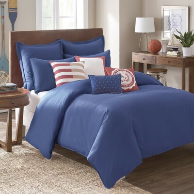Skipjack Chino Comforter Size: King, Color: Blue Cove
