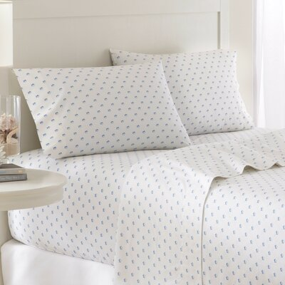 Skipjack 200 Thread Count Cotton Sheet Set Color: White, Size: Queen