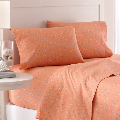 Skipjack 200 Thread Count Cotton Sheet Set Size: Queen, Color: Coral