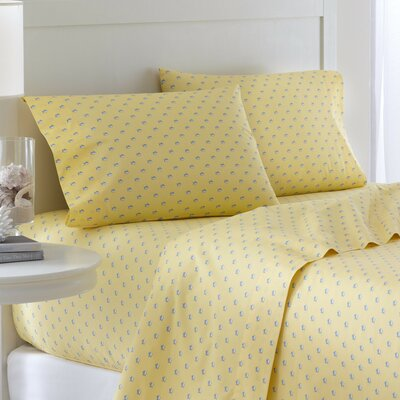 Skipjack 200 Thread Count Cotton Sheet Set Size: Full, Color: Yellow