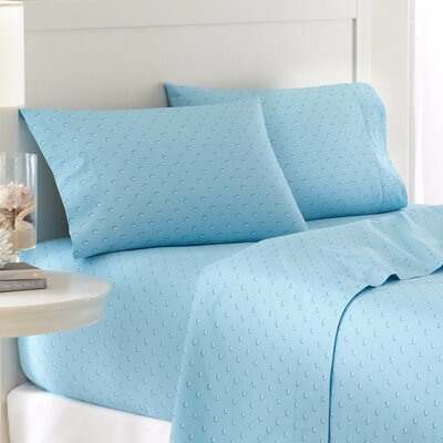 Skipjack 200 Thread Count Cotton Sheet Set Size: Twin, Color: Blue Topaz