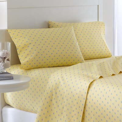 Skipjack 200 Thread Count Cotton Sheet Set Color: Yellow, Size: Queen