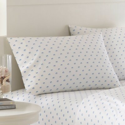 Skipjack Printed Cotton Pillowcase Color: White, Size: Standard