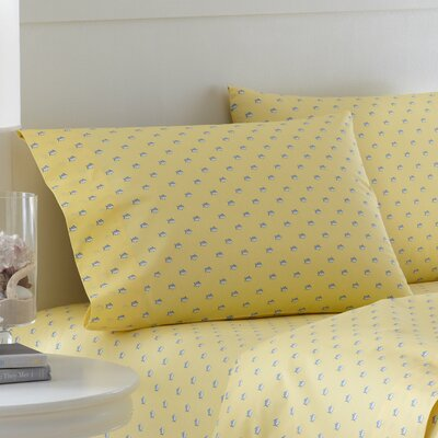 Skipjack Printed Cotton Pillowcase Color: Moonlight Yellow, Size: King