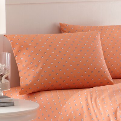 Skipjack Printed Cotton Pillowcase Size: Standard, Color: Sea Coral