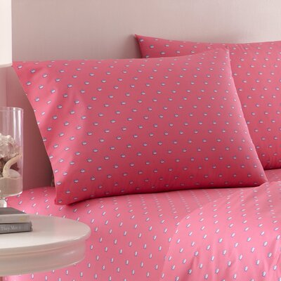 Skipjack Printed Cotton Pillowcase Color: Sunset Pink, Size: Standard